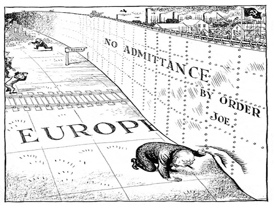 The 'Iron Curtain' is brought to life in this memorable cartoon from the Daily Mail on 6 March 1946.