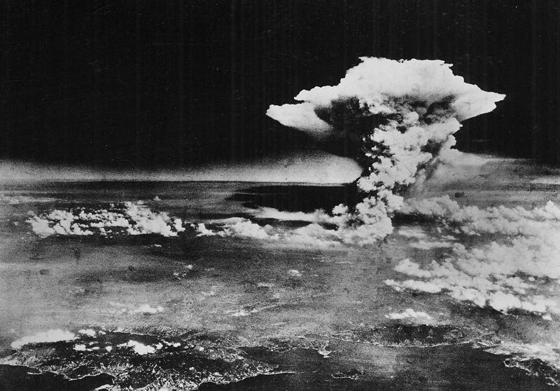 A photo of the mushroom cloud over Hiroshima, taken from Enola Gay