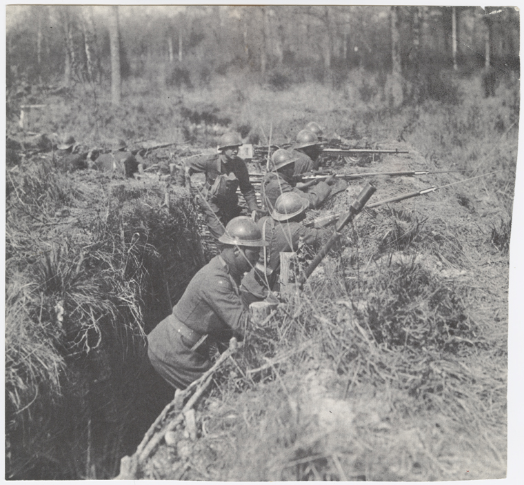Members of the 369th Infantry serving in the trenches in France, 1918