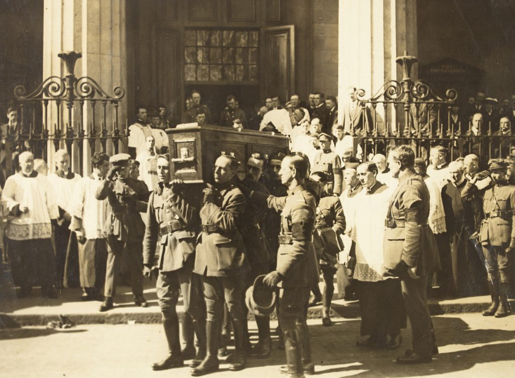 Coffin of Michael Collins being carried from the Pro-Cathedral, 1922