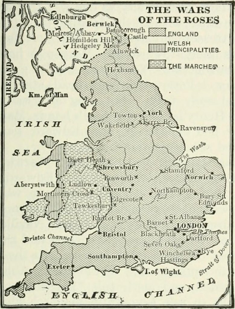 A map of England at the time of the Wars of the Roses