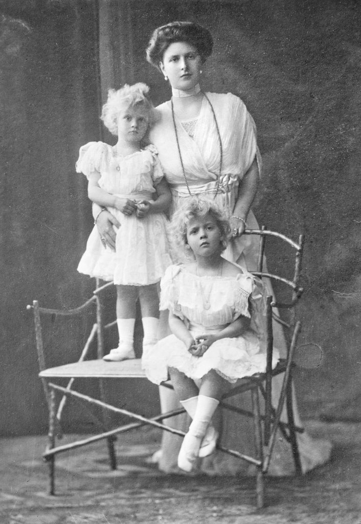 Princess Alice of Battenberg, mother of Prince Philip, with her daughters and Philip's eldest sisters, Princesses Margarita and Theodora of Greece and Denmark, 1910