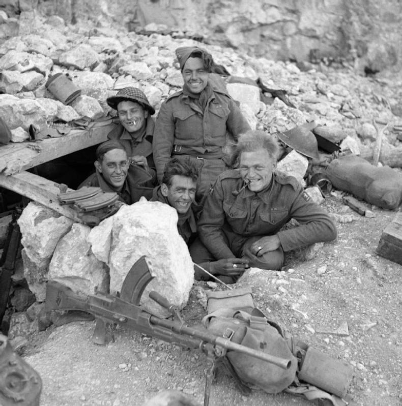 Men of Davies's regiment in a dugout at Monte Cassino, 26 March 1944.