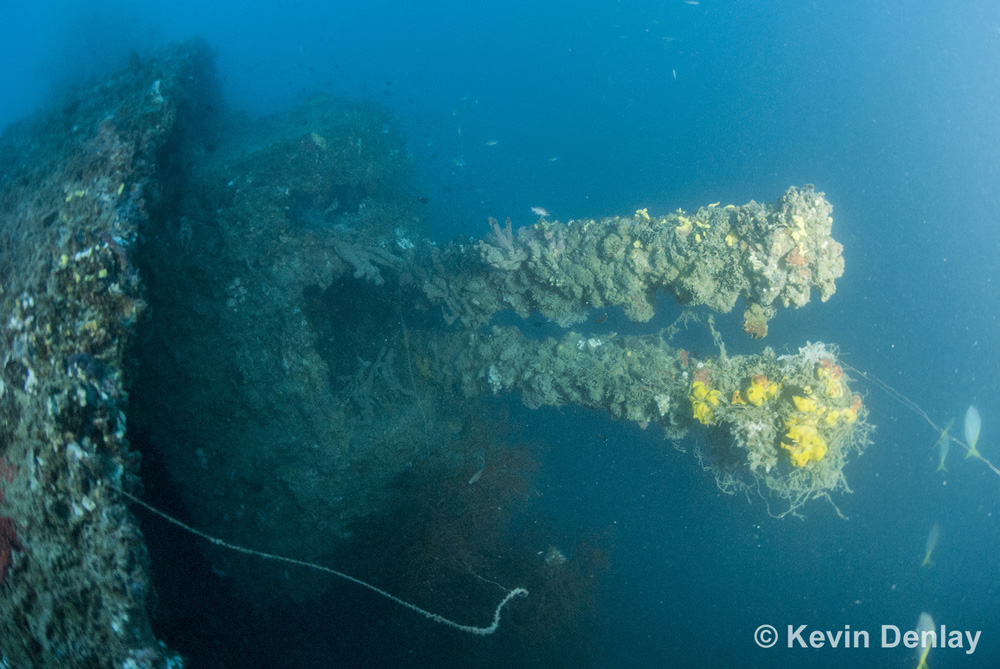 """A twin barrelled 4"""" gun mount on HMS Exeter, the first thing that came into Kevin Denlay's view as he descended on his first dive on the wreck when it was discovered in 2007."""